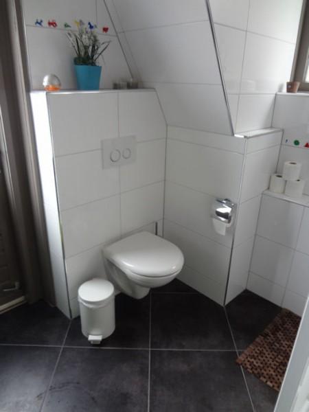 Toilet in badkamer met schuin dak